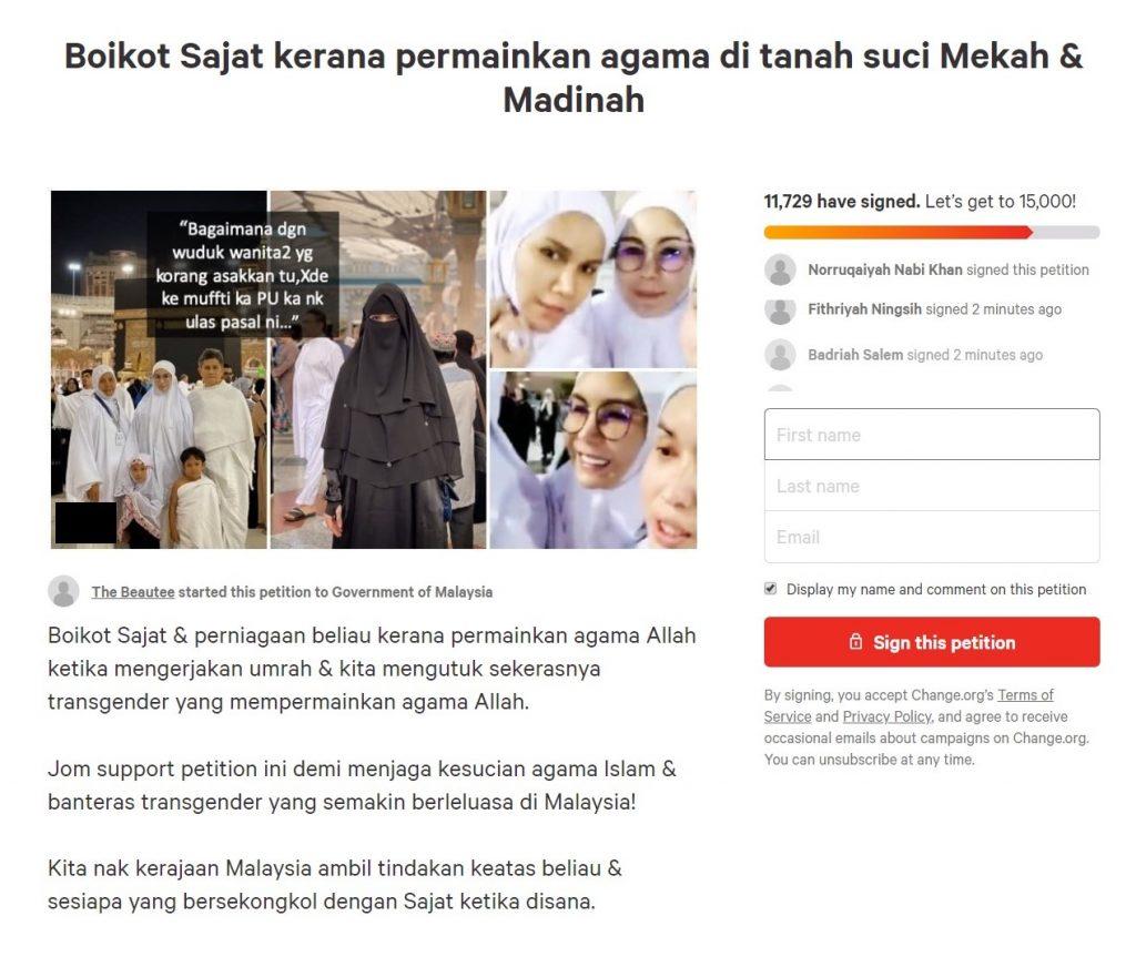 petisyen boikot sajat