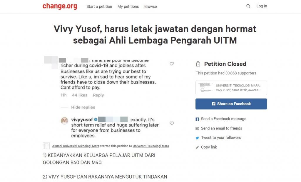 petisyen vivy yusof letak jawatan ahli lembaga pengarah uitm