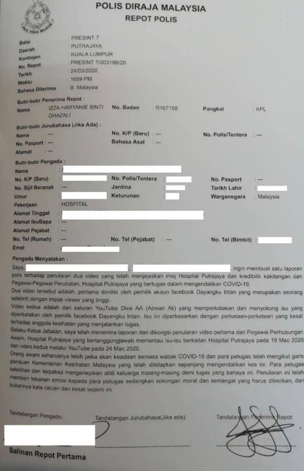 hospital putrajaya laporan polis diva aa dayangku intan