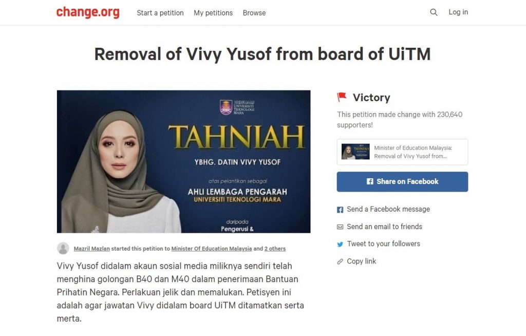 petisyen vivy yusof uitm