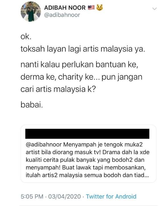 adibah noor selar netizen label artis bodoh dan tiada maruah