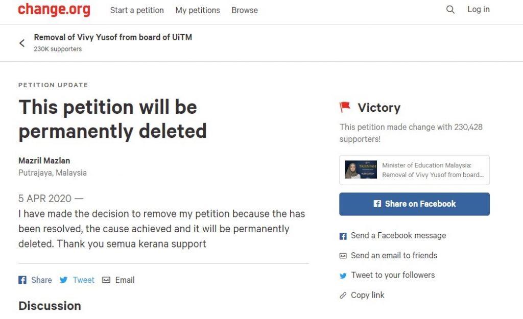 vivy yusof petisyen uitm dipadam