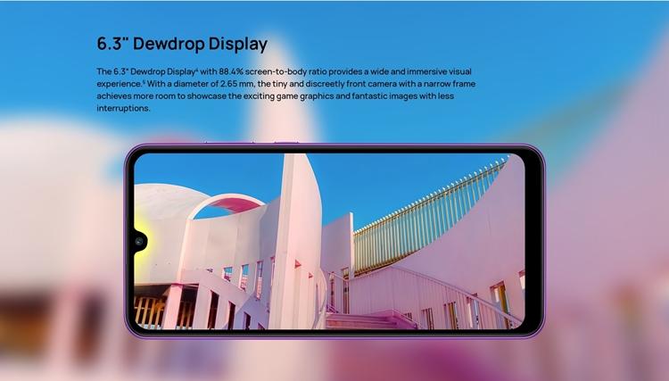 huawei y6p dew drop display
