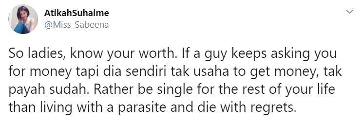 atikah suhaime mahu lelaki berduit