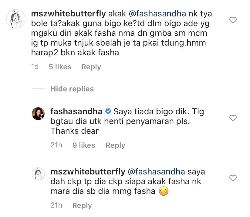 fasha sandha tiada akaun bigo