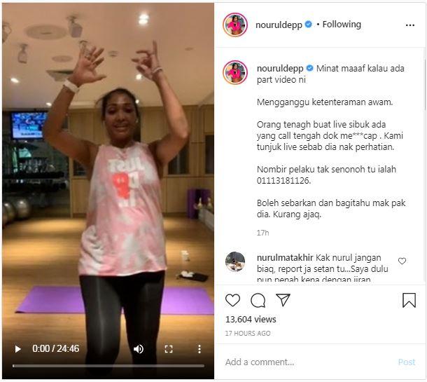 Nourul Depp Jelik Terima Panggilan Video Lucah Ketika Bersenam