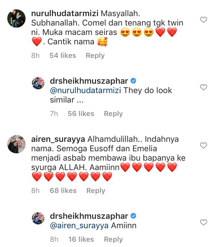 Sophea Emelia, Sheikh Eusoff Nama Anak Kembar Dr Sheikh Muszaphar