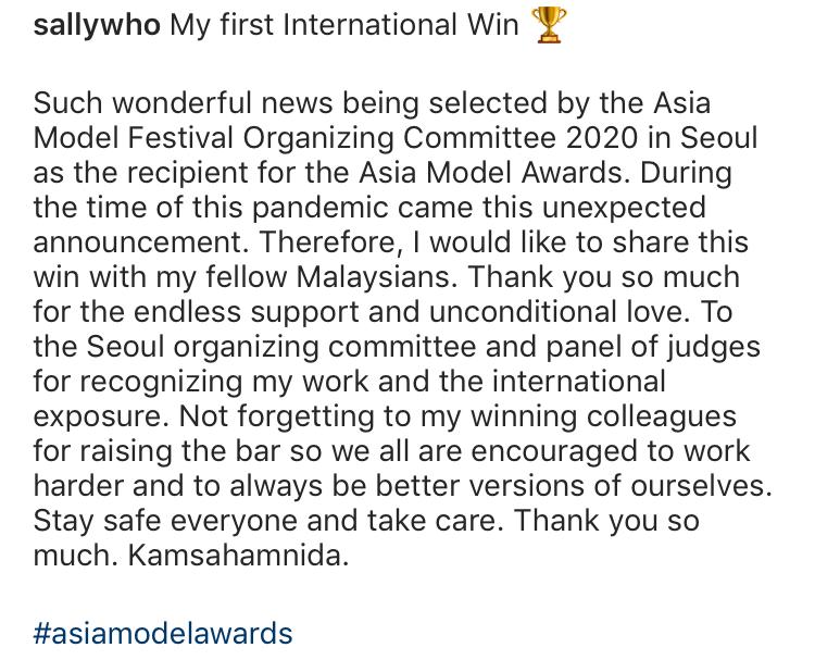 (TAHNIAH) Raih Anugerah Di Peringkat Antarabangsa, Siti Saleha Sandang Trofi Asia Model Awards 2020 5