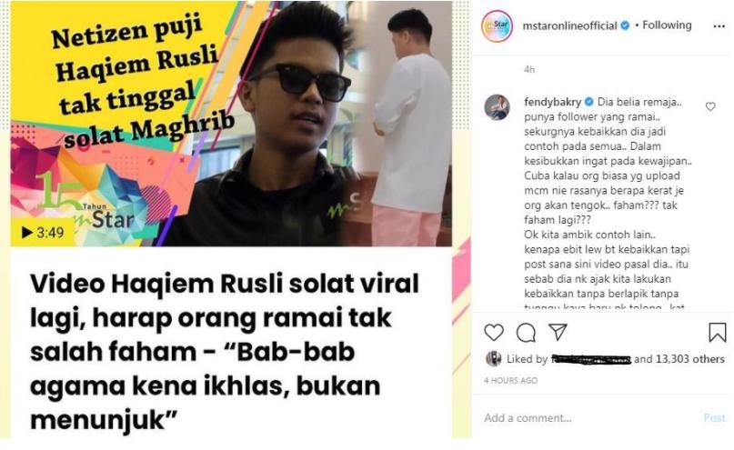 Samakan Dengan Ebit Lew, Fendy Bakry Kagum Dengan Perkara Baik Ditonjolkan Haqiem Rusli Di Media Sosial 4