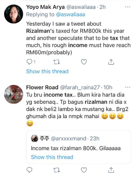 Netizen cuba meneka pendapatan Rizalman Ibrahim