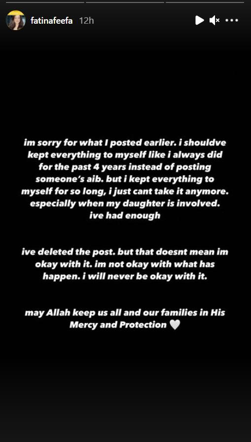 Permohonan maaf Fatin Afeefa