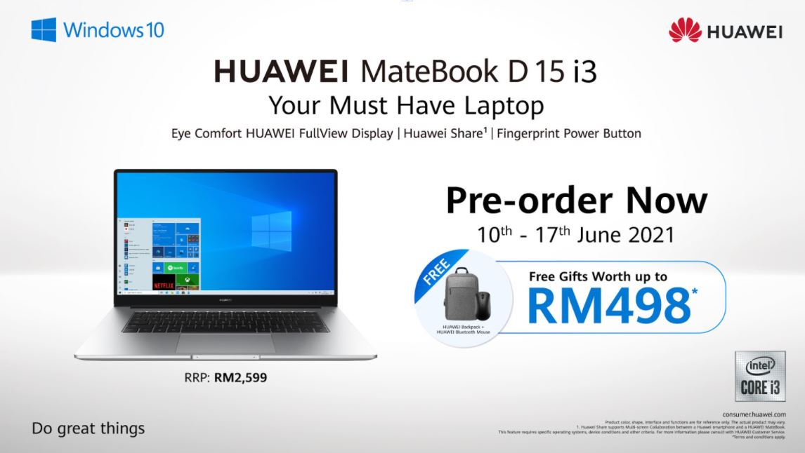 Pembelajaran Online Diteruskan? Tak Perlu Risau, Lengkapkan Diri Dengan Komputer Riba Terbaru HUAWEI MateBook D15 i3! 8