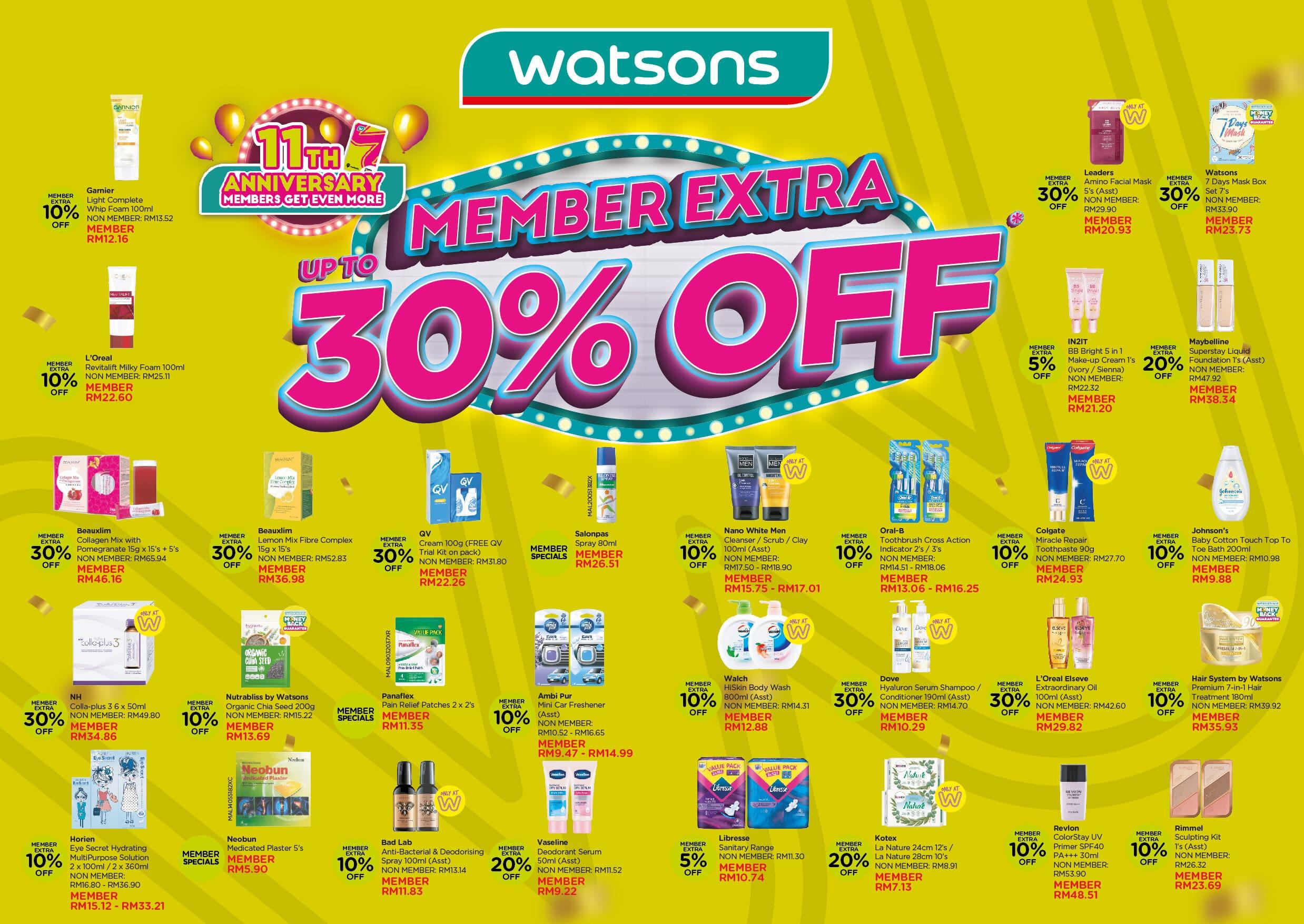 Diskaun 30% untuk ahli Watsons