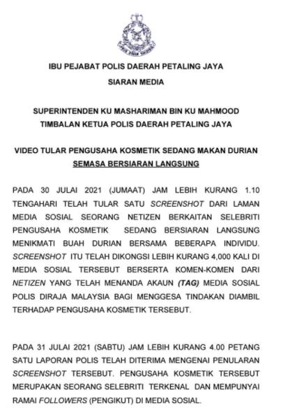 Siaran Media Polis