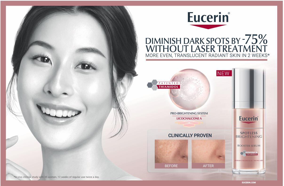Eucerin Spotless Brightening Booster Serum membantu mengurangkan 75 peratus bintik hitam