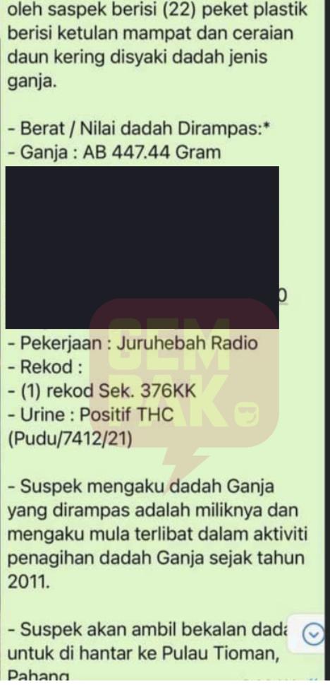 Whatsapp ganja penyampai radio